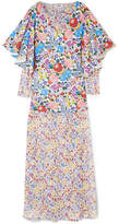 All Things Mochi - Flora Printed Cotton-voile And Chiffon Maxi Dress - Blue