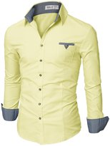Doublju Mens Slim Fit Long Sleeve Flannel Dress Shirt, Yellow