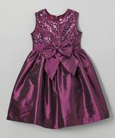 Jayne Copeland Plum Sequin Bow Dress - Toddler & Girls