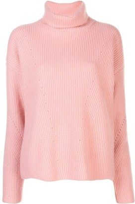 Lapointe Silk Ribbed Turtle Neck Jumper