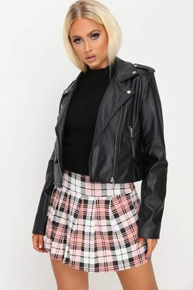 I SAW IT FIRST Pink Tartan Check Pleated Skirt