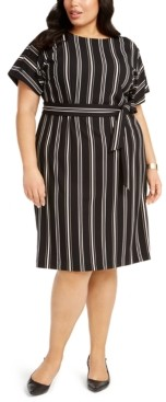 Alfani Plus Size Striped Tie-Waist Dress, Created for Macy's