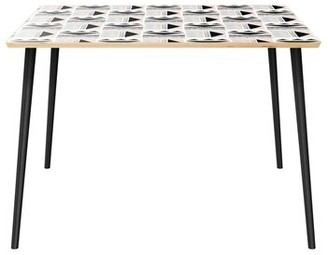 Bungalow Rose Husby Dining Table Table Top Color: Natural, Table Base Color: Black