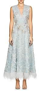 J. Mendel Women's Feather-Trimmed Beaded Silk Cocktail Dress - Aqua