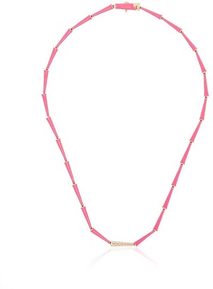 Melissa Kaye 18kt yellow gold Lola diamond enamel link necklace