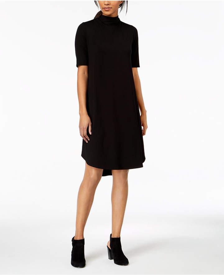 Eileen Fisher Stretch Jersey Mock-Neck A-Line Dress, Regular & Petite