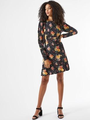 Dorothy Perkins Floral Jersey Fit & Flare Dress - Black