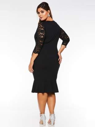 Quiz Curve Curve V-Neck LaceThree-quarter Sleeve Frill Midi Dress - Black