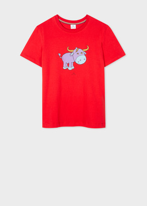 Paul Smith Women's Red 'Lunar New Year' Print Organic Cotton T-Shirt