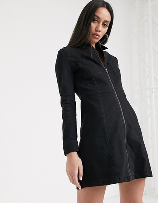Noisy May mini dress with zip detail in black denim