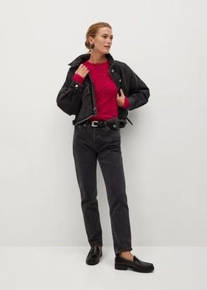 MANGO Embossed contrasting knit sweater fuchsia - XS - Women