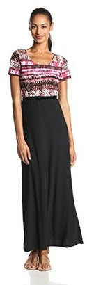 Star Vixen Women's Solid Top-Print Skirt Short Sleeve Skater Maxi Dress