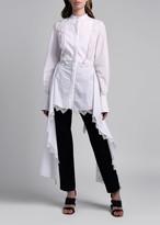 Alexander McQueen Poplin Lace-Trim Asymmetric Blouse