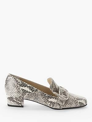 John Lewis & Partners Amelie Leather Low Heel Court Shoes, Snake