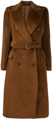 Tagliatore Fur-Trimmed Belted Double-Breasted Coat