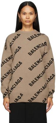 Balenciaga Beige Logo Oversized Crewneck