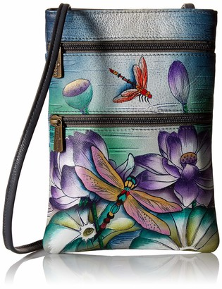 Anuschka Women's Genuine Leather Hand Painted Double Zip Travel Crossbody Bag   Tranquil Pond