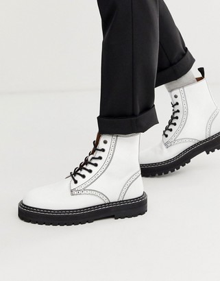 ASOS DESIGN lace up brogue boots in white leather with black chunky sole