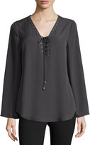 Neiman Marcus Long-Sleeve Lace-Up Blouse, Steel Gray