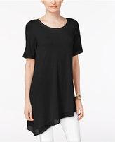 Joan Vass Chiffon-Trim Asymmetrical T-Shirt