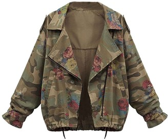 HOOUDO Women Long Sleeve Autumn Winter Coat Plus Size Loose Batwing Sleeve Camouflage Tops Jacket Overcoat Outwear(XL