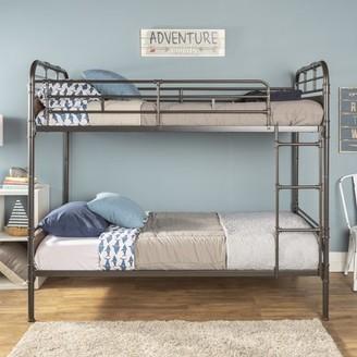 Manor Park Urban Industrial Twin over Twin Metal Wood Bunk Bed - Black
