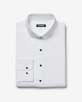 Express Slim Shank Button Tuxedo Dress Shirt