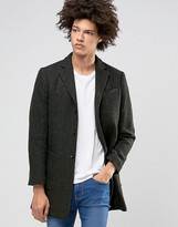 Selected Wool Overcoat with Fleck Detail