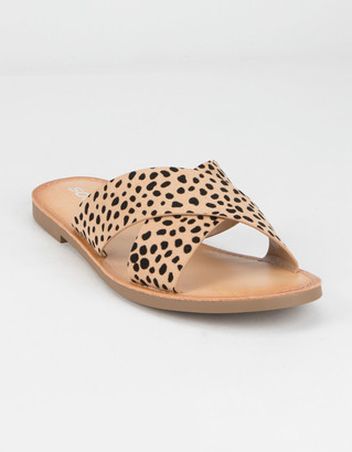 Soda Sunglasses Crisscross Cheetah Womens Slides