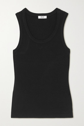 AGOLDE Poppy Ribbed Stretch Organic Cotton And Tencel-blend Jersey Tank - Black