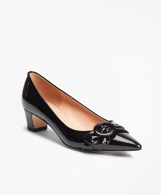Brooks Brothers Patent Leather Point-Toe Kitten Heel Pumps