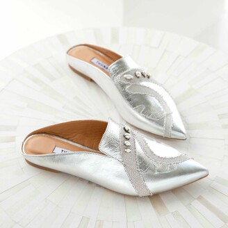 THUNA - Lolo Silver Pointed Leather With Handmade Pearl Slippers