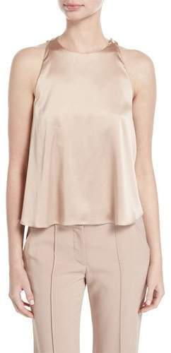 A.L.C. Jasper Sleeveless Open-Back Satin Blouse