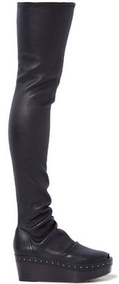Rick Owens Studded Stretch-leather Platform Thigh Boots