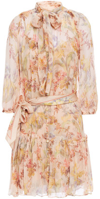 Zimmermann Espionage Pussy-bow Printed Silk-georgette Mini Dress