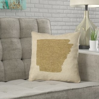 """Bronx Austrinus Arkansas Canvas in , Faux Suede Double Sided Print/Throw Pillow Ivy Color: Gold, Size: 18"""" x 18"""""""