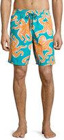 Vilebrequin Okoa Octopus-Print Swim Trunks, Blue/Orange