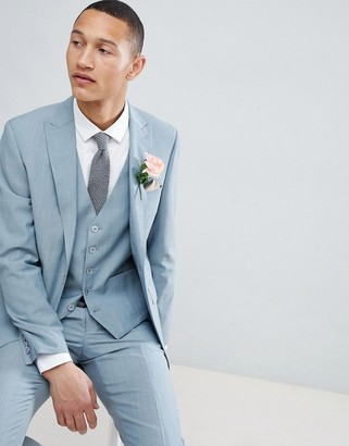 Moss Bros Skinny Wedding Suit Jacket In Sage-Green