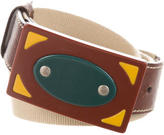 Miu Miu Leather-Trimmed Buckled Belt