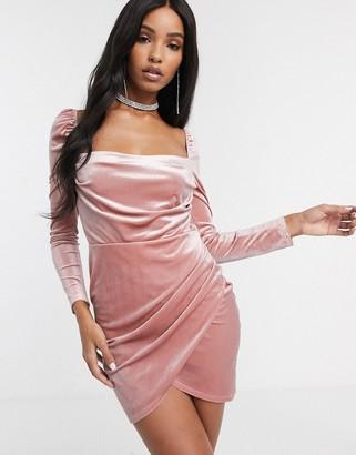 Asos DESIGN velvet long sleeve mini dress