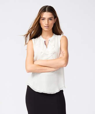 Tommy Hilfiger Women's Blouses IVORY - Ivory Logo Stripe Ruffle-Front Woven Sleeveless Top - Women