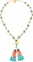 Devon Leigh Long Turquoise, Lapis & Coral Beaded Tassel Necklace