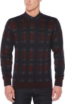 Perry Ellis Big & Tall Exploded Plaid Crew Sweater