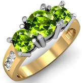 DazzlingRock Collection 2.00 Carat (ctw) 14K Yellow Gold Peridot & White Diamond 3 Stone Engagement Ring 2 CT (Size 9)