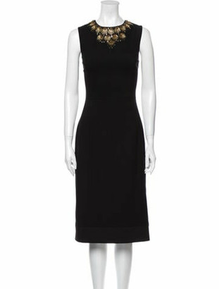 Adam Lippes Crew Neck Midi Length Dress Black