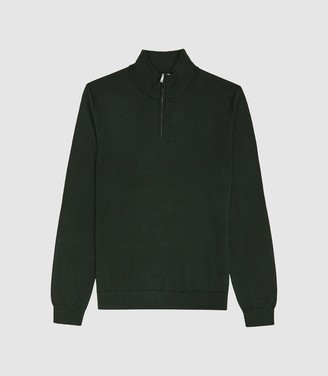 Blackhall - Merino Wool Zip Neck Jumper in Forest Green