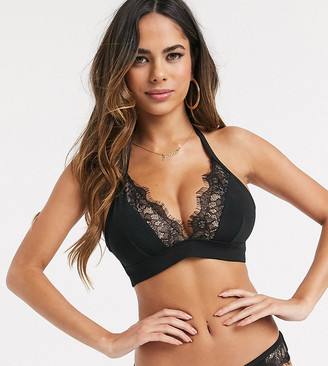 Wolfwhistle Wolf & Whistle Fuller Bust Exclusive triangle bikini top with lace in black