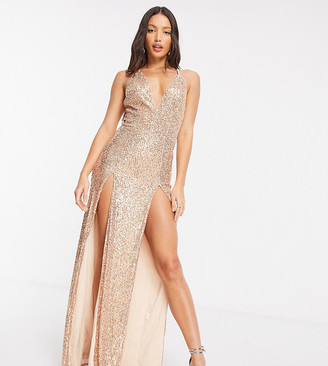 Jaded Rose Tall exclusive sequin plunge maxi dress with double thigh split in gold
