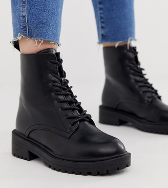 Raid Wide Fit Exclusive Micah black lace up flat boots with black eyelets