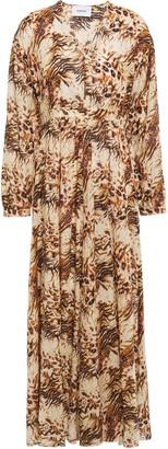 Nanushka Hazel Gathered Floral-print Cotton-voile Maxi Dress